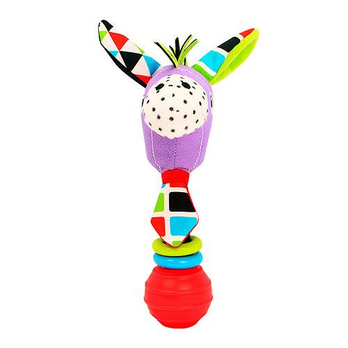 Погремушка BEBEK BABY-0002-1 (150шт) ослик, 16см, плюш, на листе, в кульке, 12-20-6,5см
