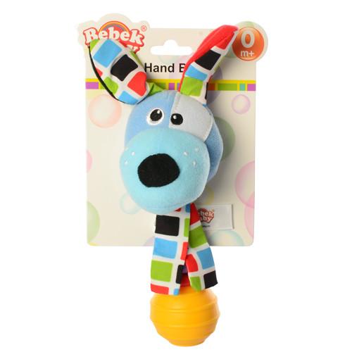 Погремушка BEBEK BABY-0002-2 (150шт) собачка, 19см, плюш, на листе, в кульке, 12-20-6,5см