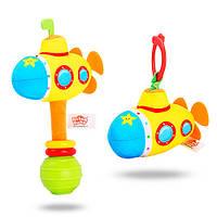 Погремушка BEBEK BABY-0003-2 (150шт) подводная лодка,16см,шуршалка,плюш,на листе,в кульке,13-21-5см