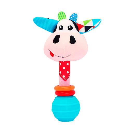 Погремушка BEBEK BABY-0002-3 (150шт) корова, 17см, плюш, на листе, в кульке, 12-20-6,5см