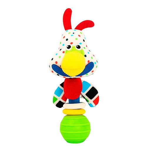 Погремушка BEBEK BABY-0002-4 (150шт) петушок, 16см, плюш, на листе, в кульке, 12-20-6,5см