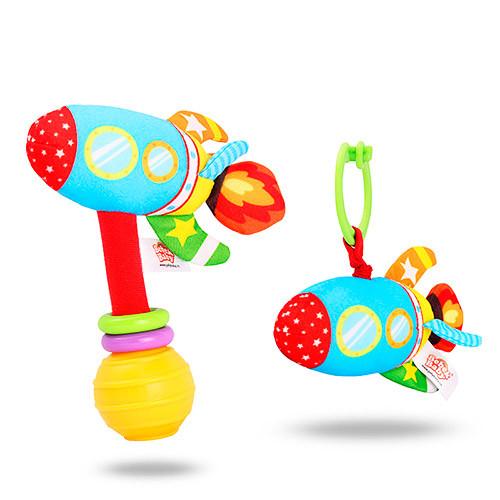 Погремушка BEBEK BABY-0003-5 (150шт) ракета,16см, шуршалка, плюш, на листе, в кульке, 13-21-5см