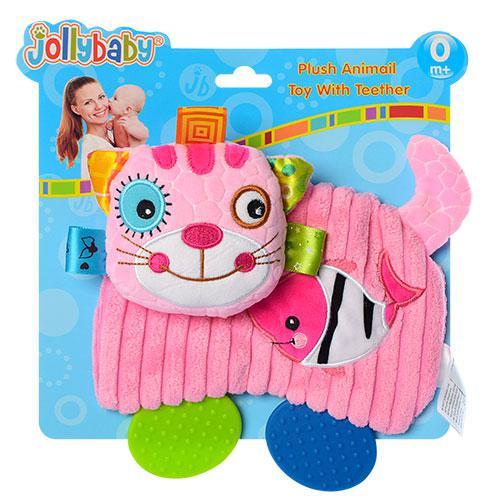 Погремушка WLTH8132J-1 (60шт) котик,18см,прорезыватель,плюш,на листе,в кульке,22-20,5-4см