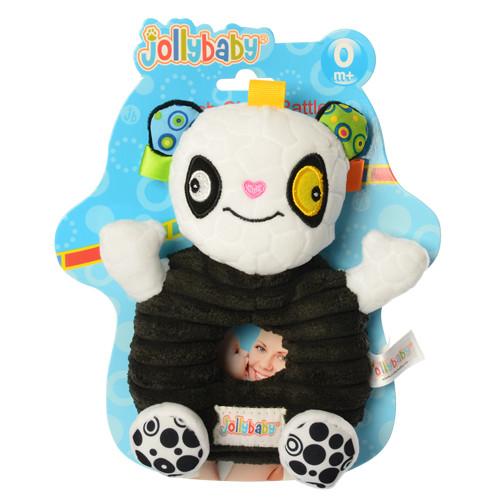 Погремушка WLTH8139J-3 (120шт) панда, 17см, плюш, на листе, в кульке, 21-18-5см