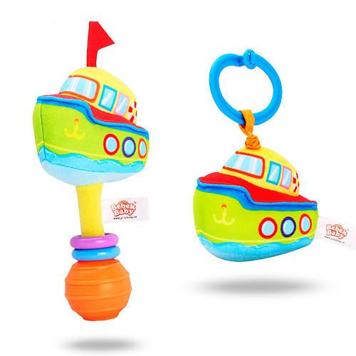 Подвеска на коляску BEBEK BABY-0004-1 (200шт) катер, 16см, растяжка, на листе, в кульке,12-16-5см