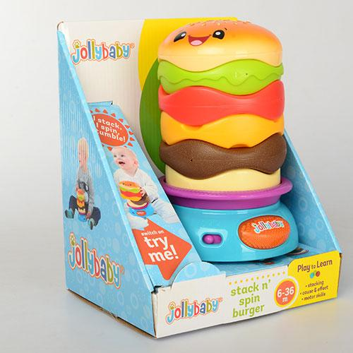 Пирамидка WLTH8083J (8шт) гамбургер, 19см, муз, звук(англ), свет, на бат-ке, в кор-ке, 19-15-24см