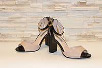 Босоножки женские бежевые на каблуке размер 36 40