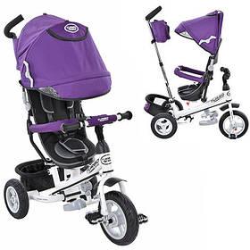 Трехколесный велосипед Turbo Trike M 3452-2FA фиолетовый, резиновые колеса, поворотное сиденье, сумка