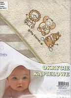 Полотенце с капюшоном   в полосочку для купания детей (100х100 см) Duetbaby ( Польша)