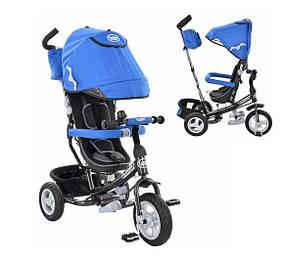 Трехколесный велосипед Turbo Trike M 3452-3FA голубой, резиновые колеса, поворотное сиденье, сумка