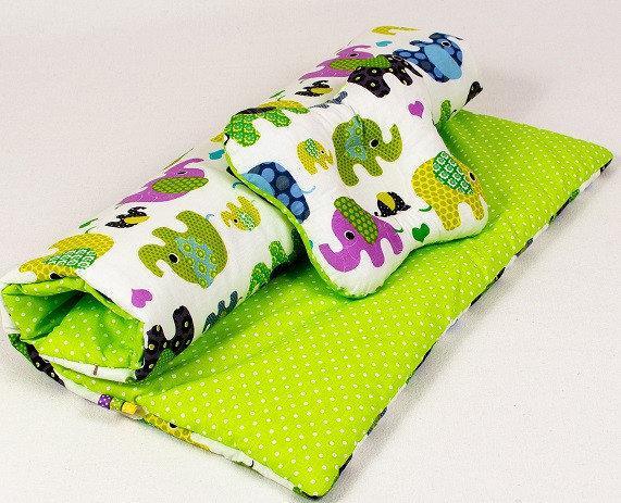 Комплект в детскую коляску BabySoon Слоники на салатовом одеяло 65х75 см подушка 22х26 см
