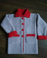 Детское вязаное пальто, ручная работа