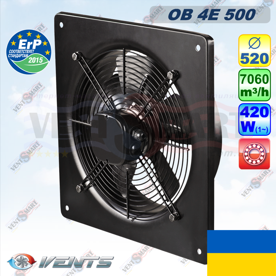 Мощный осевой вентилятор ВЕНТС ОВ 4Е 500 (7060 куб.м, 420 Вт), фото 1