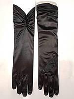 Длинные женские вечерние атласные перчатки, размер универсальный