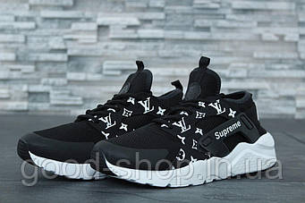 "Мужские кроссовки Nike Air Huarache Ultra Supreme x Louis Vuitton ""Black"" (люкс копия)"