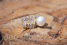 Серебряное кольцо с натуральным жемчугом 16 размер