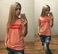 Новинка Турция!  женская футболка катон персик S M L, фото 1