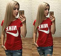 Новинка! женская футболка NIKE катон Турция красная S M L, фото 1