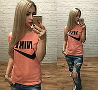 Новинка! женская футболка катон Турция персикS M L, фото 1