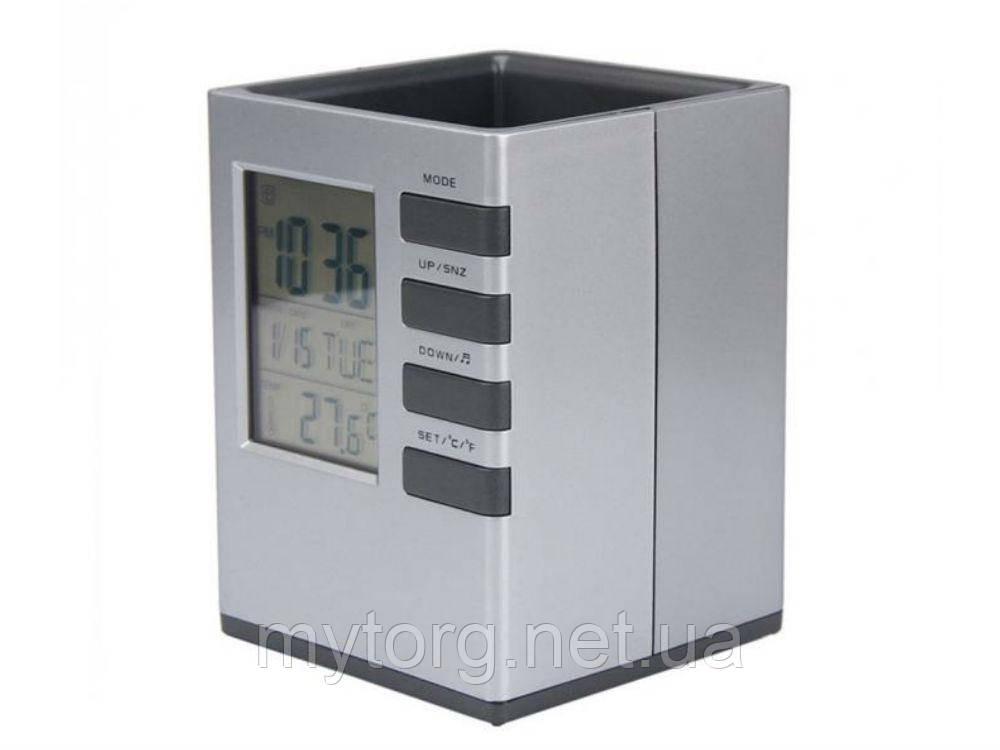 Подставка под ручки с часами, датой, термометром Elenxs  Серый