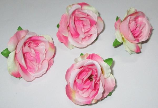 Головка розы 4,5 см, бело-розовая