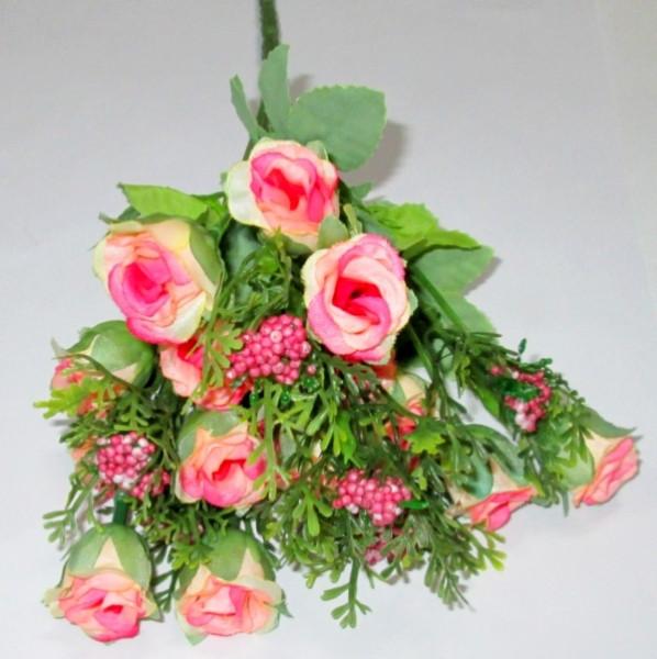 Букет мини-роз с добавкой 27 см, розовый