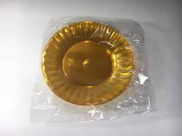 Тарелка одноразовая пластиковая стекловидная, желтая, Юнита,  205мм