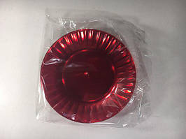 Тарелка одноразовая пластиковая стекловидная, красная, Юнита,  205мм