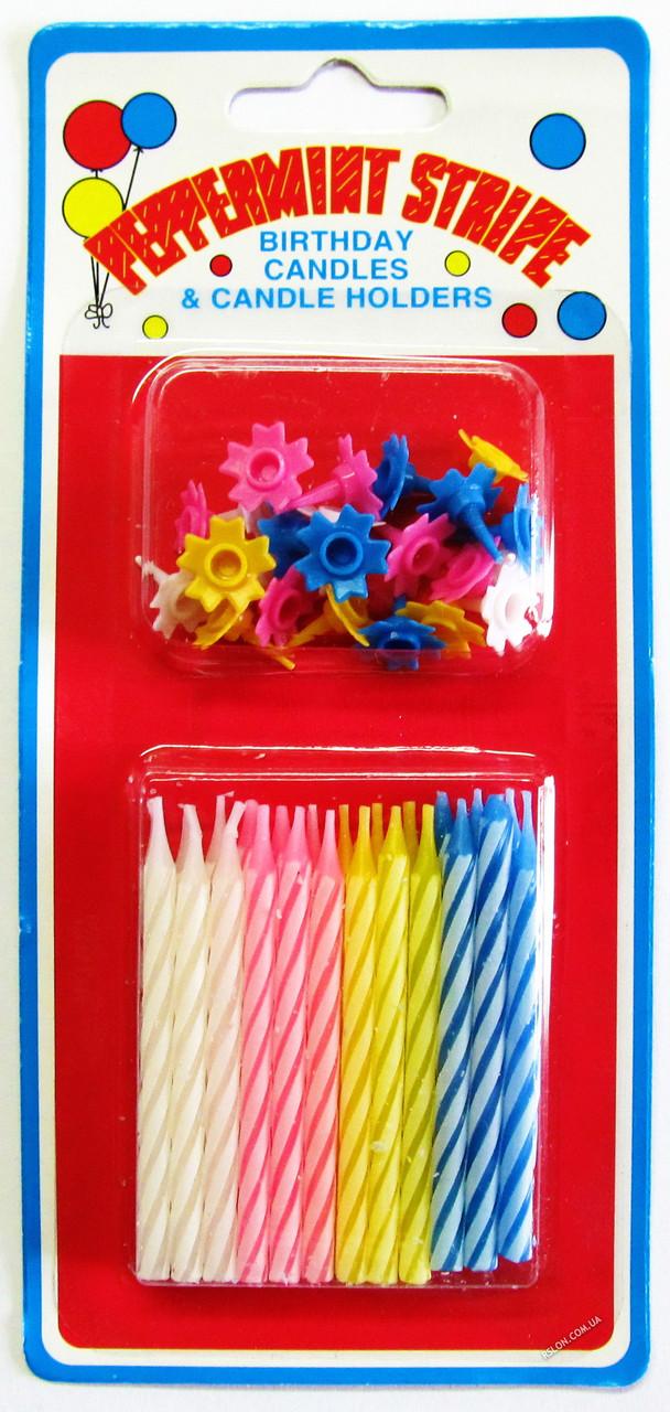 Свечи цветные для торта набор из 24 штук
