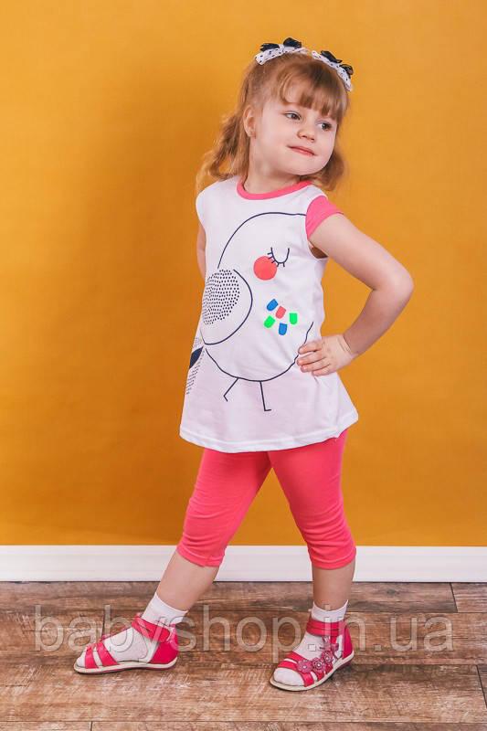 """Летний костюм для девочки """"Птичка"""". Размер 26 ( 80 см),30 (98 см), 32 (110 см), 34 (122 см)"""