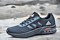 Кроссовки мужские реплика Adidas Air текстиль, сетка черные мягкие, удобные (Код: 1114)