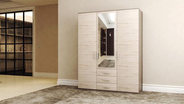 На фото :трехдверный шкаф с зеркалом и тремя ящиками в интерьере