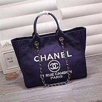 Женская сумка Шанель, пляжная, натуральная кожа, синяя, текстиль холст, Люкс копия
