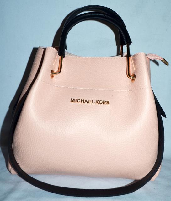 Женская mini сумка-шоппер Michael Kors цвет пудра с черными ручками (Майкл  Корс) с отстёгивающейся косметичкой e97b9e6362b