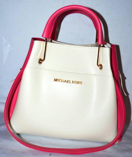 Женская mini сумка-шоппер Michael Kors цвет белый с розовым (Майкл Корс) с  отстёгивающейся косметичкой 0d95db80480