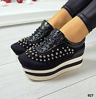 Кроссовки на Maxi подошве, материал натуральная замша  + вставки натурального лака, цвет черный