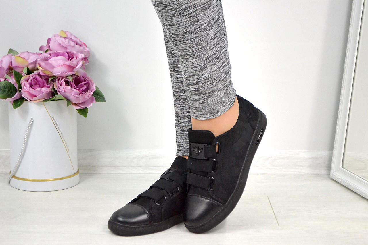 c4708f6f5282 Женские чёрные кроссовки кеды на липучка в стиле Gucci с пчелкой - Интернет- магазин