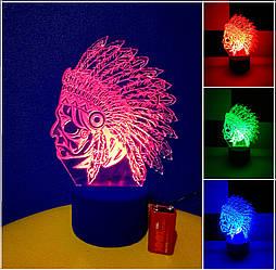 3d-светильник Индеец, 3д-ночник, несколько подсветок (на батарейке)