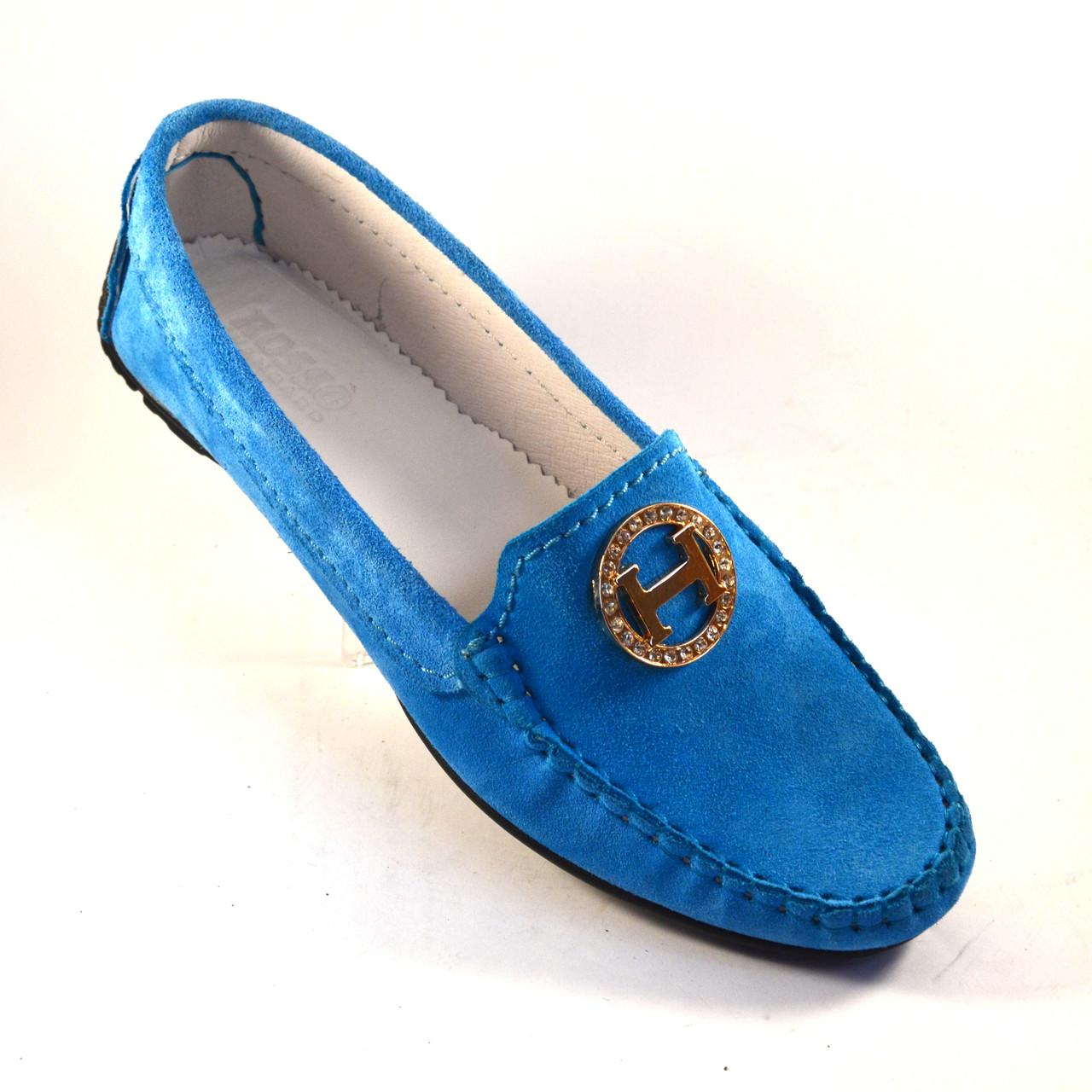 "Большой размер мокасины женские замшевые Ornella Blu Sky Vel BS by Rosso Avangard цвет голубой ""Небо"""