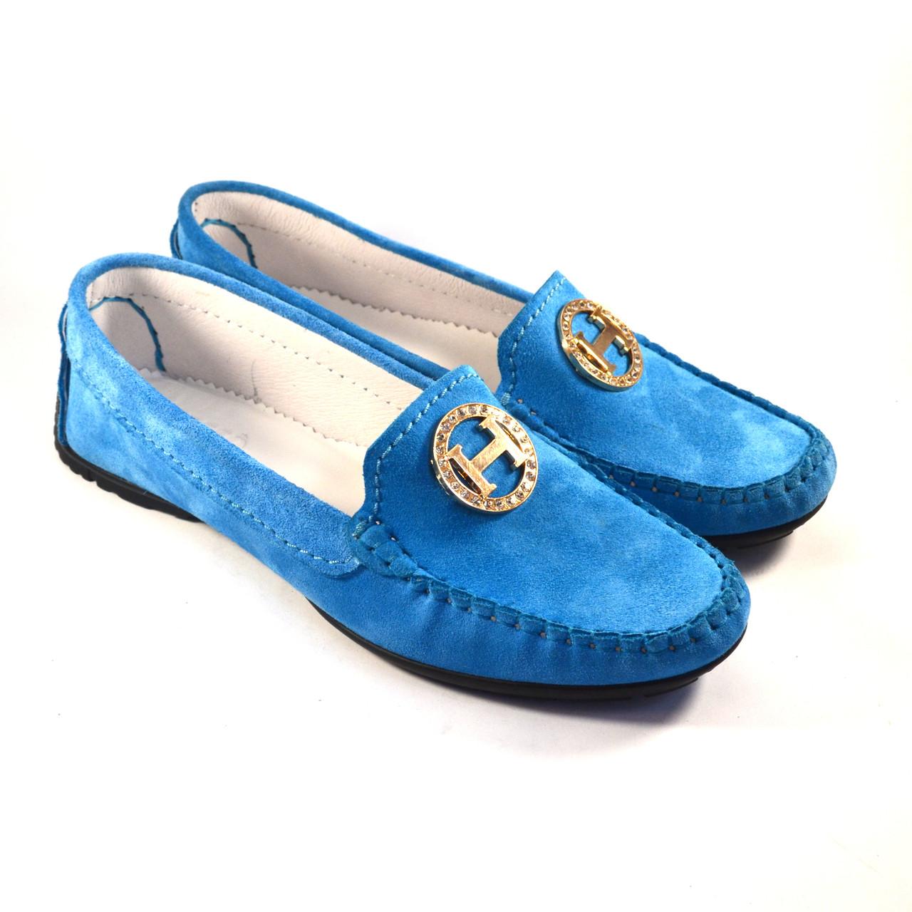 "Мокасини жіночі замшеві Ornella Blu Sky Vel by Rosso Avangard колір блакитний ""Небо"""