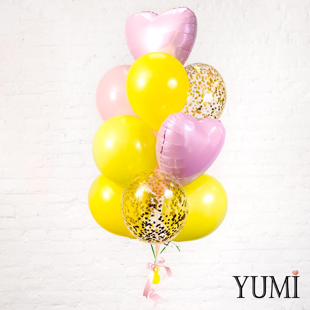 Связка из 4 желтых, 2 пудровых, 2 прозрачных с золотым конфетти и 2 розовых фольгированных сердец + Декор: