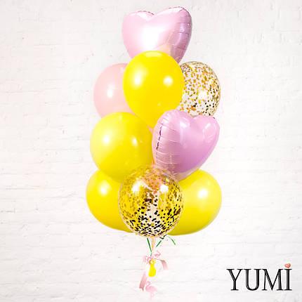 Связка из 4 желтых, 2 пудровых, 2 прозрачных с золотым конфетти и 2 розовых фольгированных сердец + Декор:, фото 2
