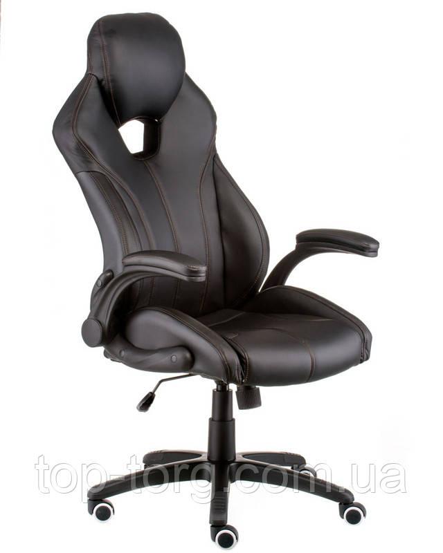 Крісло керівника, офісне Leader black чорне. E5333. З підйомними підлокітниками