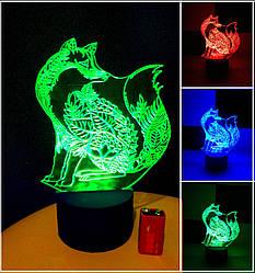 3d-светильник Лиса, Лисица, 3д-ночник, несколько подсветок (на батарейке)