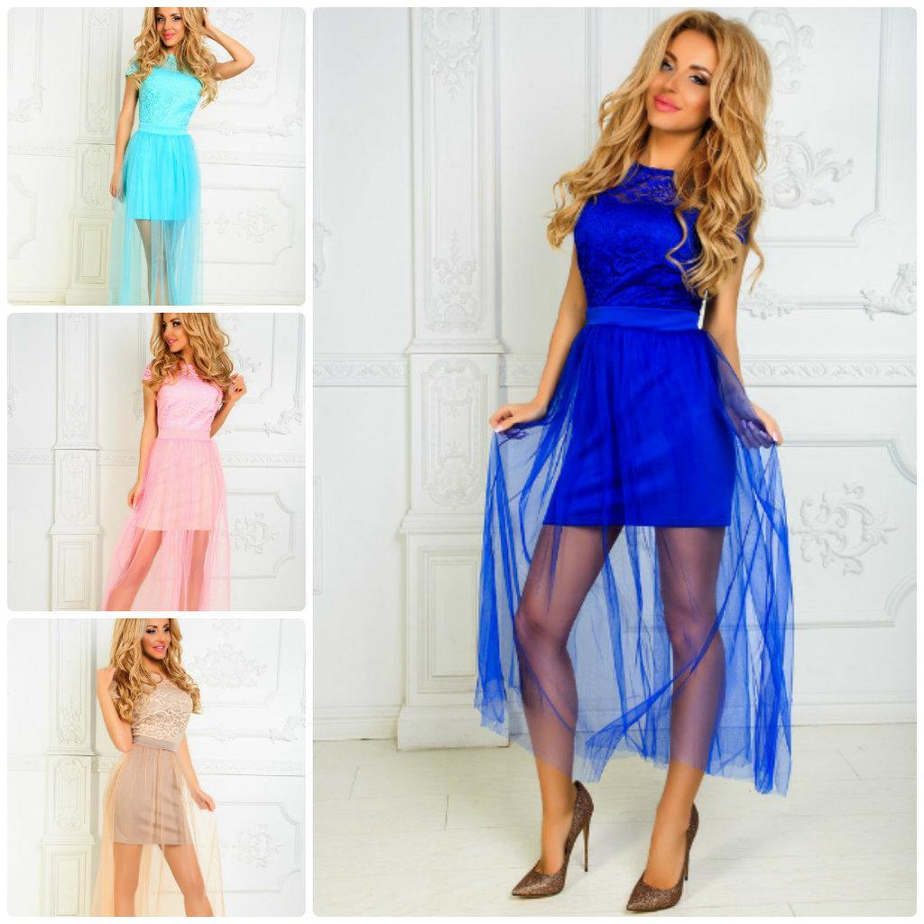 Нежное платье Мини юбка-сетка верх гипюр