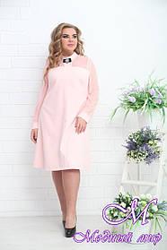 Женское нежно-розовое свободное платье батал (р. 48-90) арт. Момент