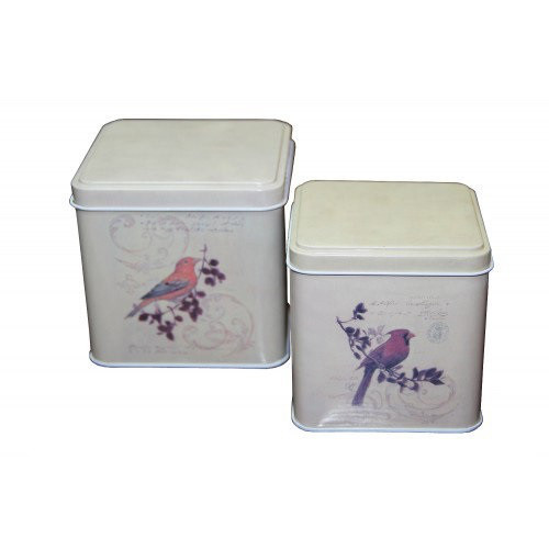 Набор из 2 жестяных банок для сыпучих продуктов Птицы, 200 и 300 г