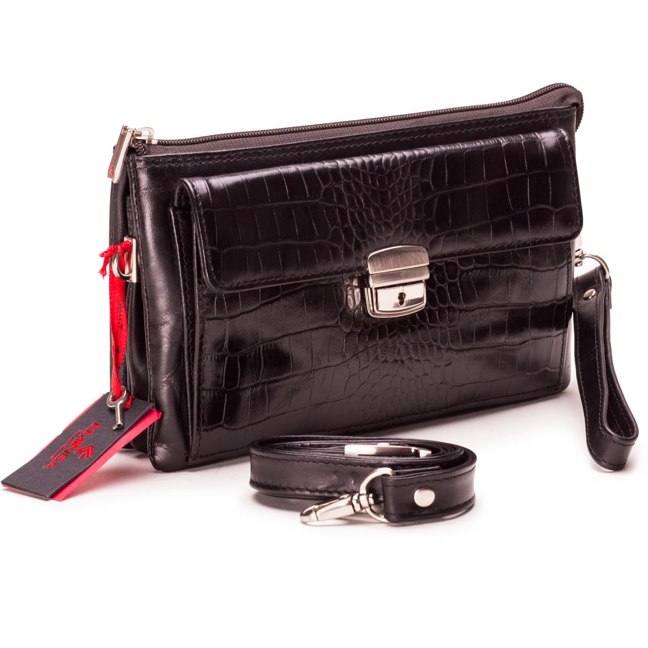 Мужской клатч Eminsa 5077-4-1 кожаный чёрный