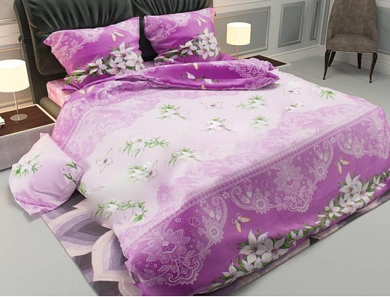 """Півтораспальний постільний комплект """"Лілія на фіолетовому """", фото 1"""