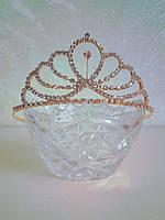 Корона для конкурса, диадема, тиара под золото, высота 4,5 см., фото 1